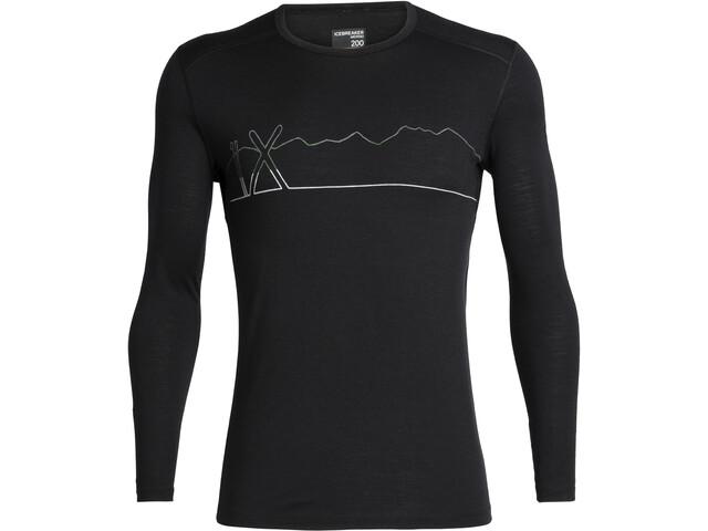 Icebreaker 200 Oasis Single Line Ski Langærmet T-shirt Herrer, black